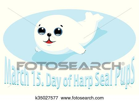 clip art of cute harp seal puppy k35027577 search clipart