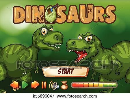 clip art of game template with t rex in background k55896047
