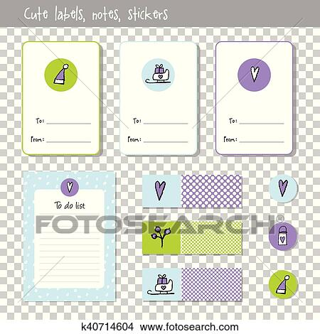 Christmas List Organizer.Gift Cards Note Paper Notes To Do List Organizer Planner Marks Stickers Hand Drawn Elements New Year Christmas Theme Clipart