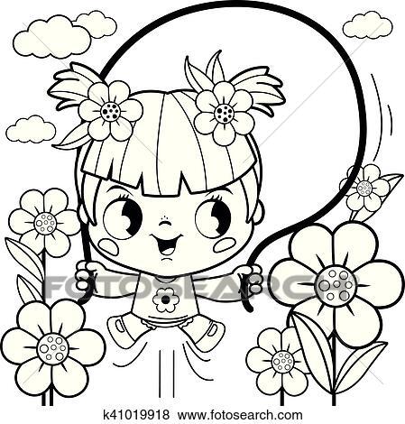 Clip Art Mädchen Spielender Ausmalbilder Seite K41019918