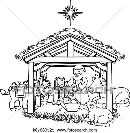 Nativity Scene Christmas Cartoon Clipart | k67680525 ...