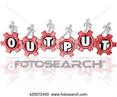 stock photography of output word gears people working productivity