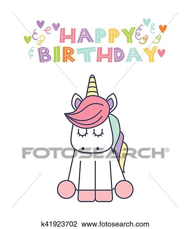 Unicorn Birthday Card Clipart