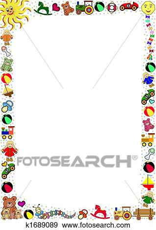 Clip Art Of Background With Toys Border K1689089 Search Clipart