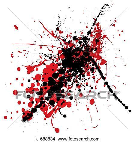 Blood splat with black Stock Illustration