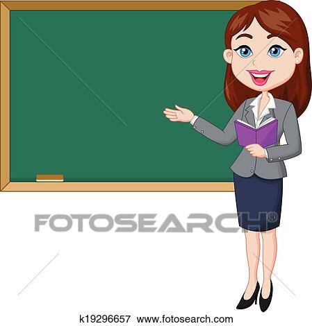 clip art of cartoon female teacher standing nex k19296657 search