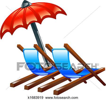 Liegestuhl mit sonnenschirm clipart  Clip Art - deck, oder, strandstuehle, und, sonnenschirm k1683919 ...