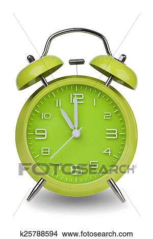 Stock Photo Of Green Alarm Clock With Hands At 11 Am Or Pm K25788594