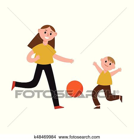 Happy mother playing ball with her son cartoon characters, mom and her  child playing sports together vector Illustration Clipart