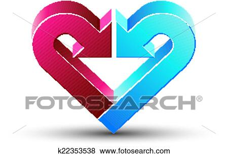 Clip Art Of Heart Made With 2 Arrows K22353538 Search Clipart