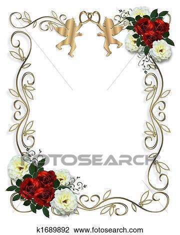 Clip Art Hochzeitskarten Rot Stieg Umrandungen K1689892 Suche