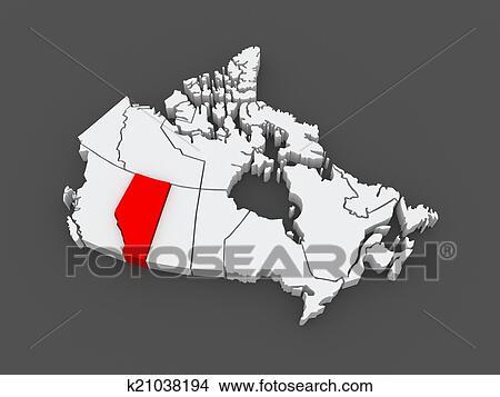Map of Alberta. Canada. Stock Illustration | k21038194 ...