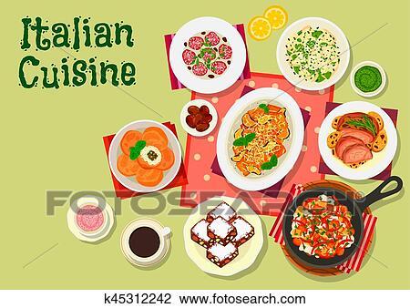 イタリアの 料理 昼食 メニュー アイコン ために 食物