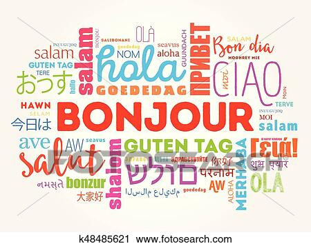 Bonjour Hello Greeting In French Word Cloud Clipart K48485621 Fotosearch