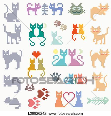 Ensemble Retro Pixel Chat Dessin