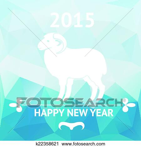 vector happy new year 2015 chinese astrological year of sheep geometric background poster