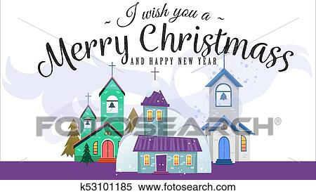 clipart merry christmas and happy new year card church and green tree under snow