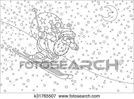 Clip Art - santa claus, esquiador k31765507 - Buscar Clip Art ...