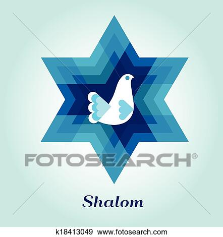 Clip Art Of Template Card With Jewish Symbols And Peace Dove