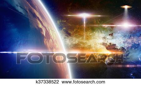 stock photo of ufo approaches at planet earth k37338522 search