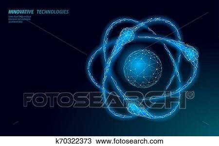 átomo Estructura Ciencia Signo E Aprendizaje Distancia Graduado En Línea Concept Bajo Poly 3d Render Física Química Diseño Bandera
