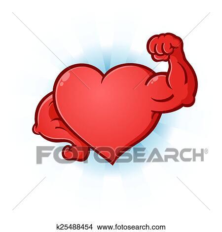Clipart cuore muscoli flettono cartone animato for Clipart cuore