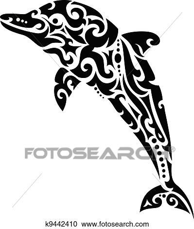 clipart - dauphin, tribal, tatouage k9442410 - recherchez des clip
