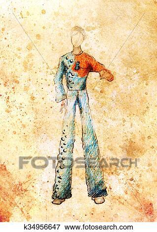 newest 34921 1be26 Disegno, moda, maschio, vestiti, matita colore, schizzo, su, paper.  Archivio Illustrazioni