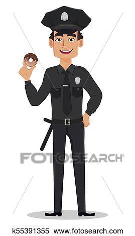Young policeman cartoon vector image on VectorStock   Cartoon, Policeman,  Cartoon clip art