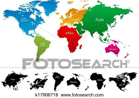 Search World Map.Clip Art Of Vector World Map With Colorful Continents K17906718