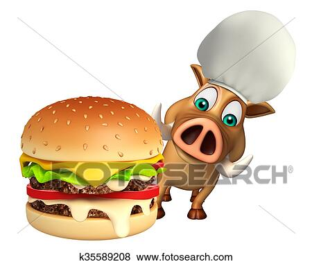 かわいい 雄豚 漫画 特徴 で バーガー イラスト K35589208