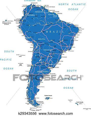 Carte Route Amerique.Amerique Sud Carte Route Clipart