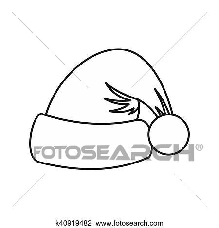 Clip Art Cappello Babbo Natale Icona Contorno Stile K40919482