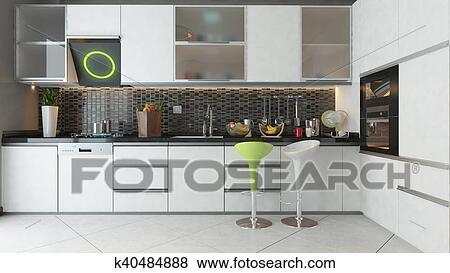 Cocina, diseño, con, blanco, color, de madera, muebles Colección de  ilustraciones