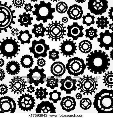 drawing of cogs gears vector k17593943 search clipart