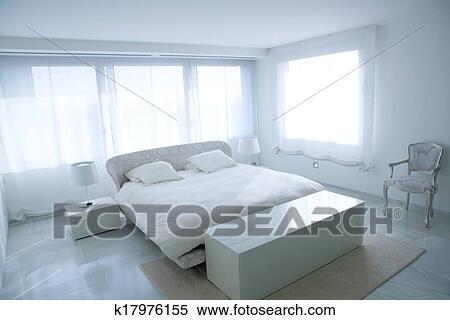 stock afbeelding hippe wit huis slaapkamer met marmeren vloer fotosearch