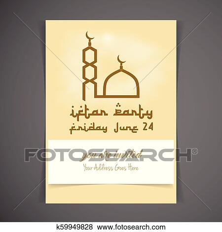 Iftar Party Invitation Card Design Vector Clip Art