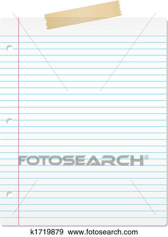 Clip Art Of Lined Paper K  Search Clipart Illustration
