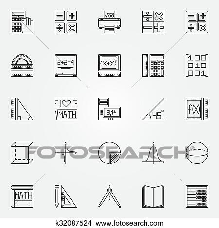 Clipart Of Math Icons Set K32087524 Search Clip Art Illustration