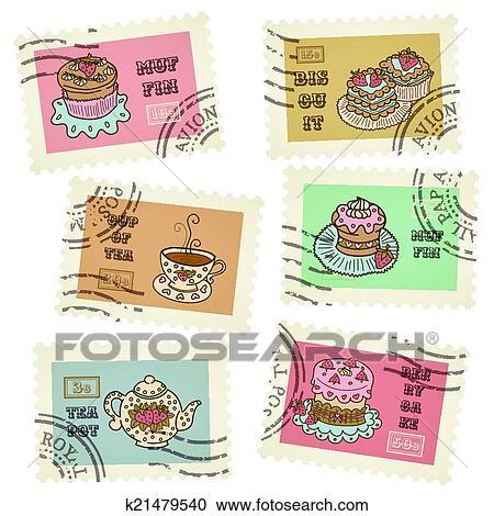 بطاقة بريدية Retro الطوابع سهم التوجيه Clipart K21479540 Fotosearch