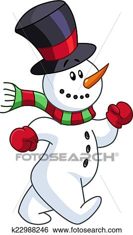 Bonhomme de neige marche clipart k22988246 fotosearch - Clipart bonhomme de neige ...