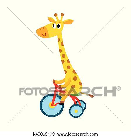 Clip art carino poco giraffa carattere bicicletta - Cartone animato giraffe immagini ...