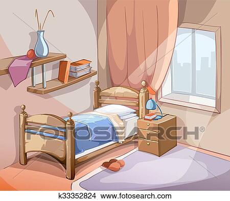 Chambre à coucher, intérieur, dans, dessin animé, style., vecteur,  illustration Clipart