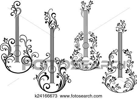 Clipart - floral, guitarra acústica, iconos k24166673 - Buscar Clip ...