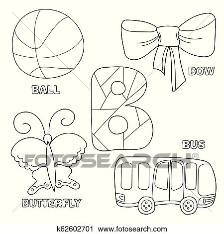 Kids alphabet coloring book page with outlined clip arts to color. Letter B  Clipart