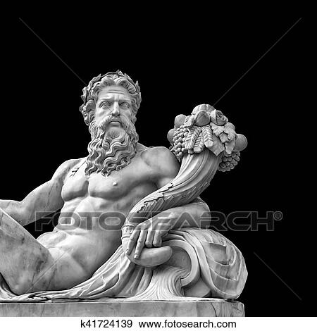 Marble Statue Of Greek God With Cornucopia In His Hands Stock Photo K41724139 Fotosearch