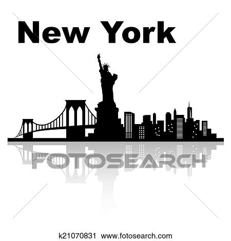 Clipart New York Skyline K21070831 Zoek Clipart Illustratie