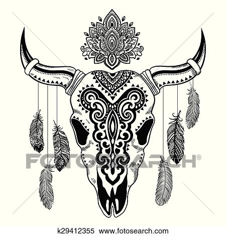 clipart of tribal animal skull illustration with ethnic ornaments