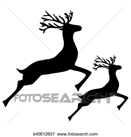 clip art of adult reindeer and baby deer jumping k40612657 search rh fotosearch com  adult clip art images