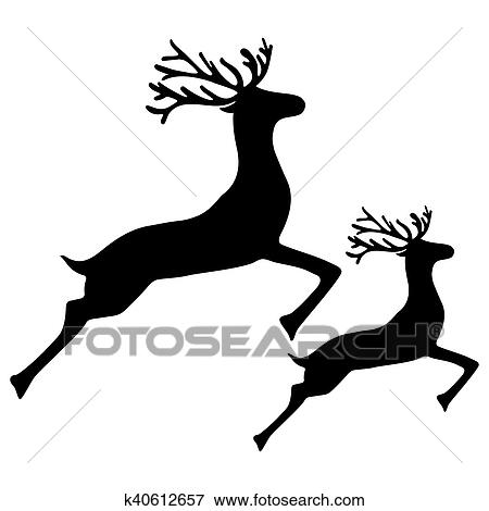 clip art of adult reindeer and baby deer jumping k40612657 search rh fotosearch com cartoon baby deer clipart woodland baby deer clipart